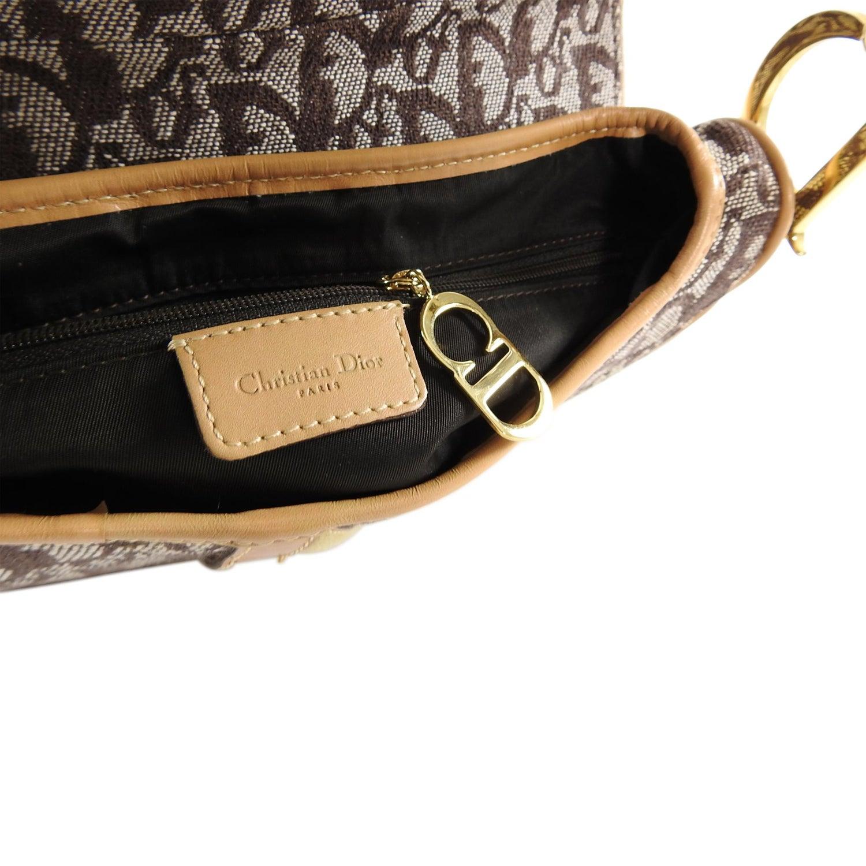 c267366bfbb2 Christian Dior Brown Monogram Logo Double Saddle Bag For Sale at 1stdibs