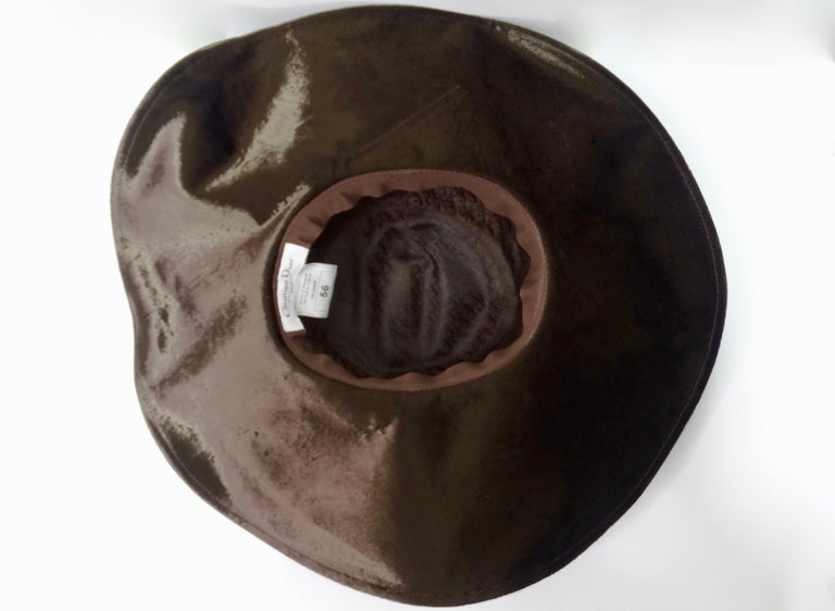 Black Christian Dior Brown Velvet Hat For Sale