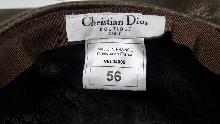 Women's or Men's Christian Dior Brown Velvet Hat For Sale