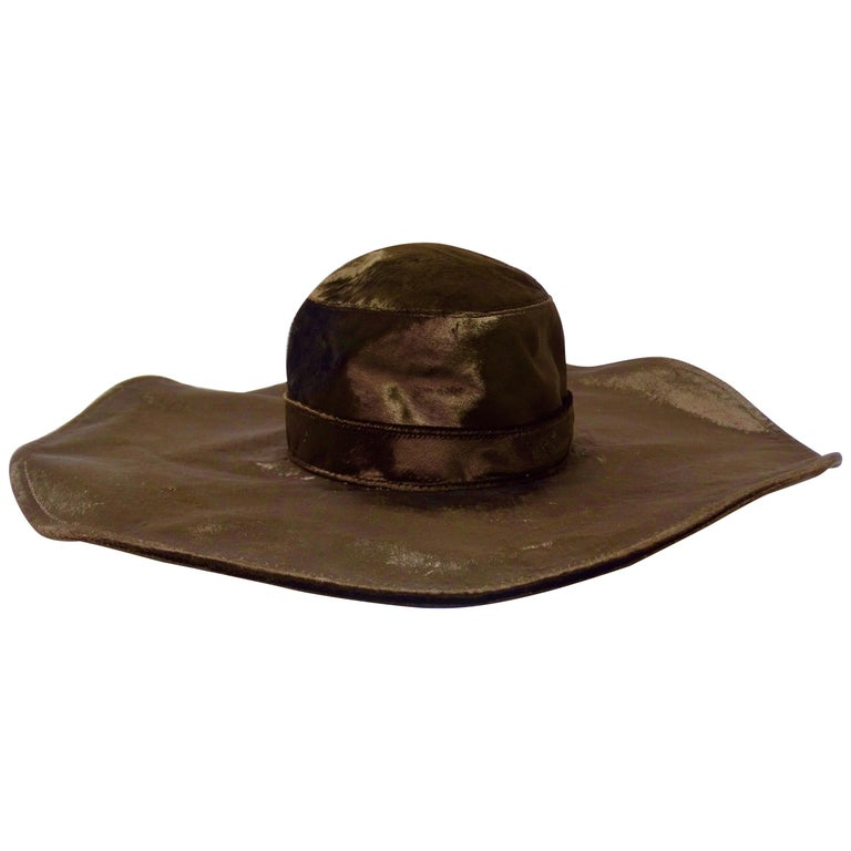 Christian Dior Brown Velvet Hat For Sale