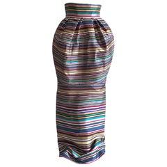 Christian Dior Bubble Top Multicolor Silk Stripe Maxi Skirt