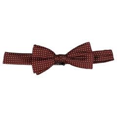 CHRISTIAN DIOR Burgundy Dot Print Silk Bow Tie