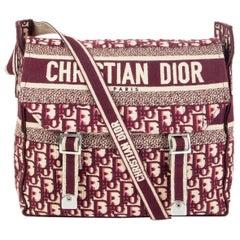 CHRISTIAN DIOR burgundy LOGO OBLIQUE DIORCAMP MESSENGER Bag