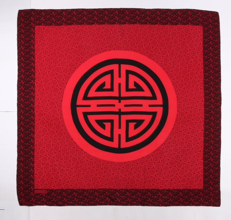 Women's CHRISTIAN DIOR Burgundy Red & Black Oriental Asian Symbol Silk Scarf For Sale