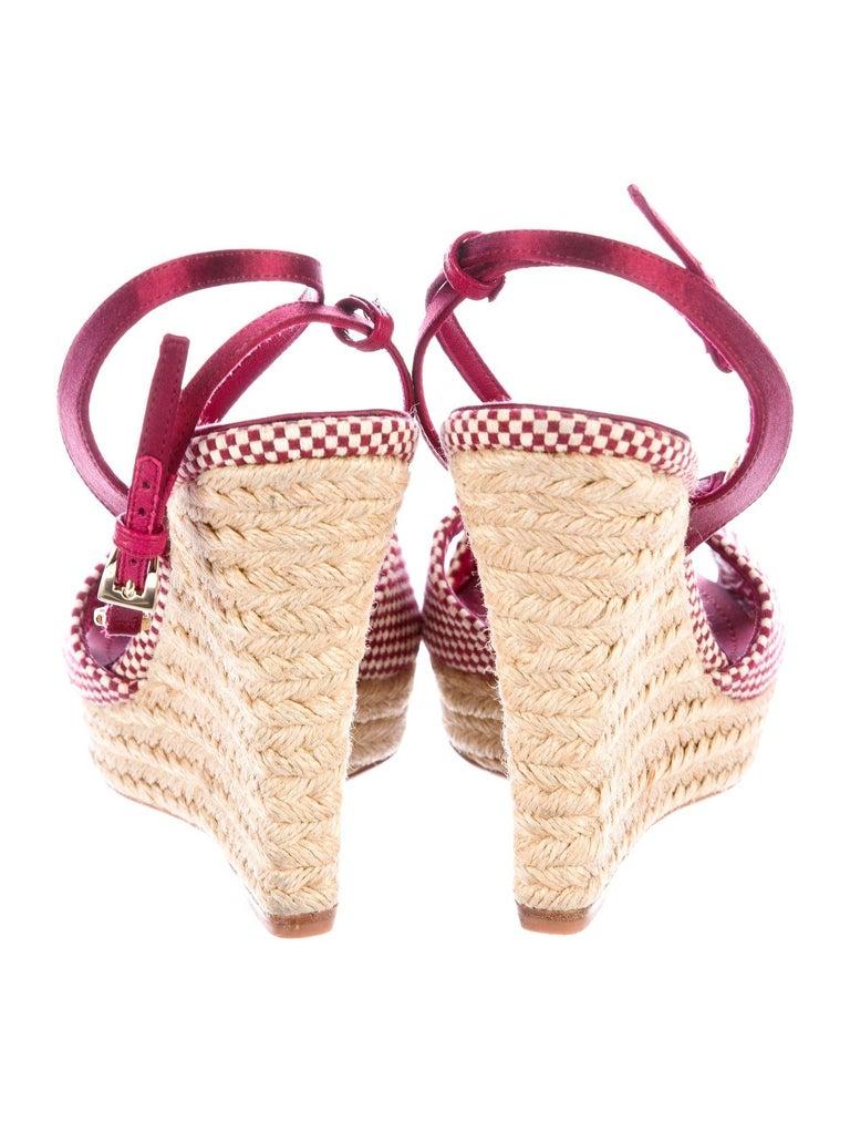 Women's Christian Dior Burgundy Satin Espadrille Wedges High Heels with CD Logo Closure For Sale