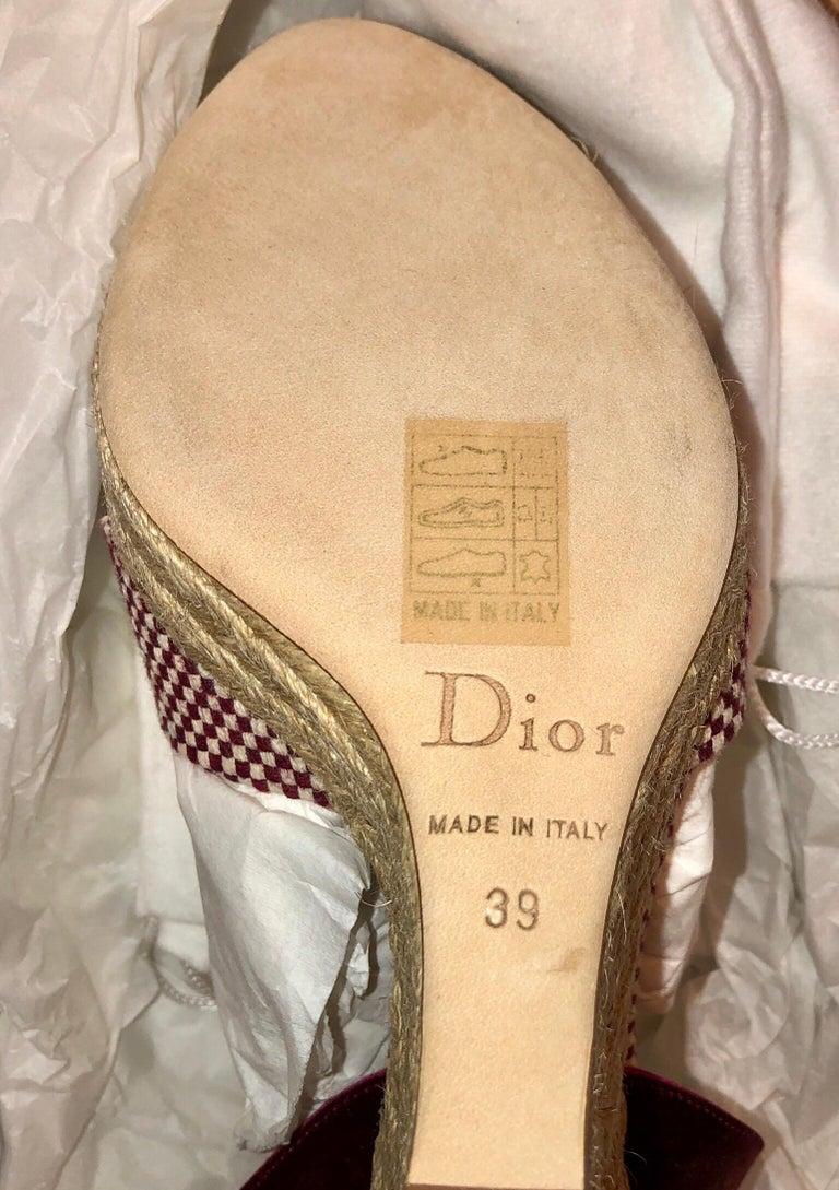 Christian Dior Burgundy Satin Espadrille Wedges High Heels with CD Logo Closure For Sale 1
