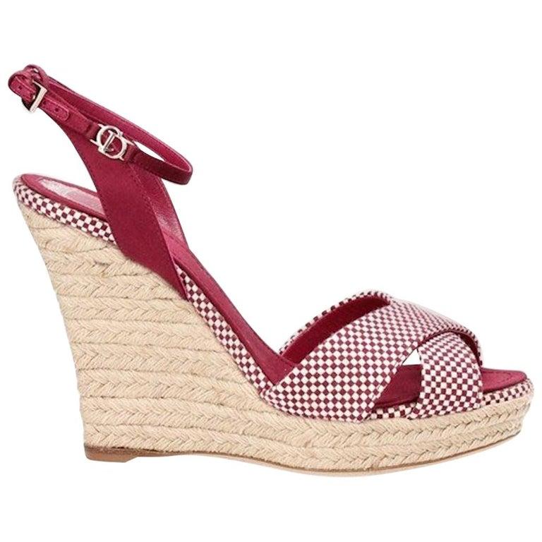 Christian Dior Burgundy Satin Espadrille Wedges High Heels with CD Logo Closure For Sale