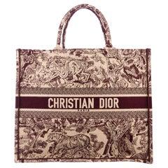Christian Dior Burgundy Tan Canvas Carryall Travel Shoulder Tote Bag