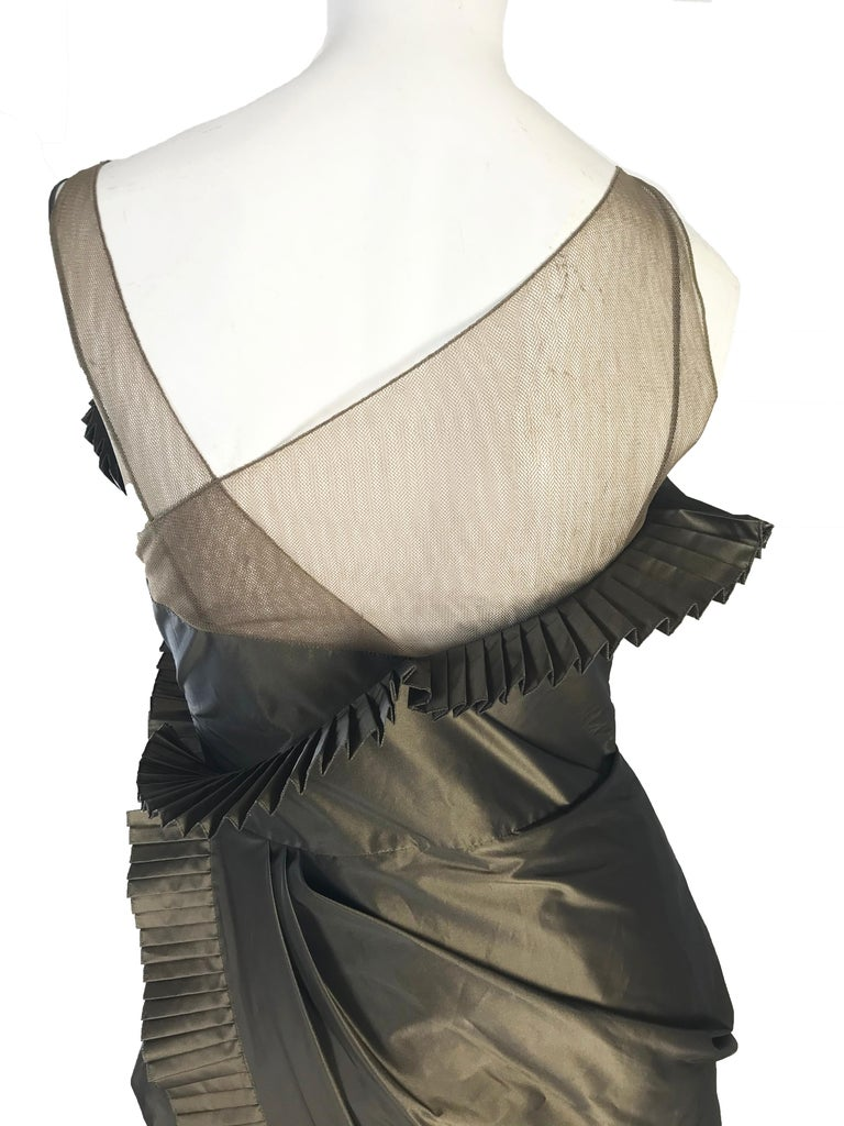Gray Christian Dior by Galliano 2002 Pleated Ruffled Evening Gown  For Sale