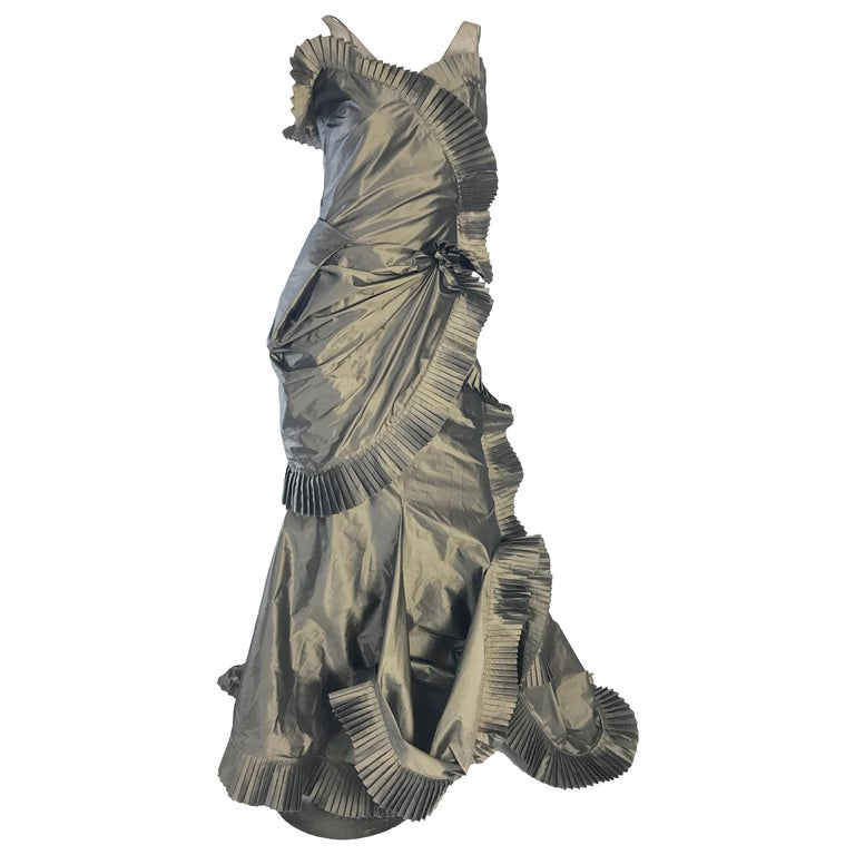 Christian Dior by Galliano 2002 Pleated Ruffled Evening Gown  For Sale