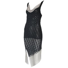 Christian Dior by Galliano Black Crochet & Silver Mesh Trim Bodycon Dress