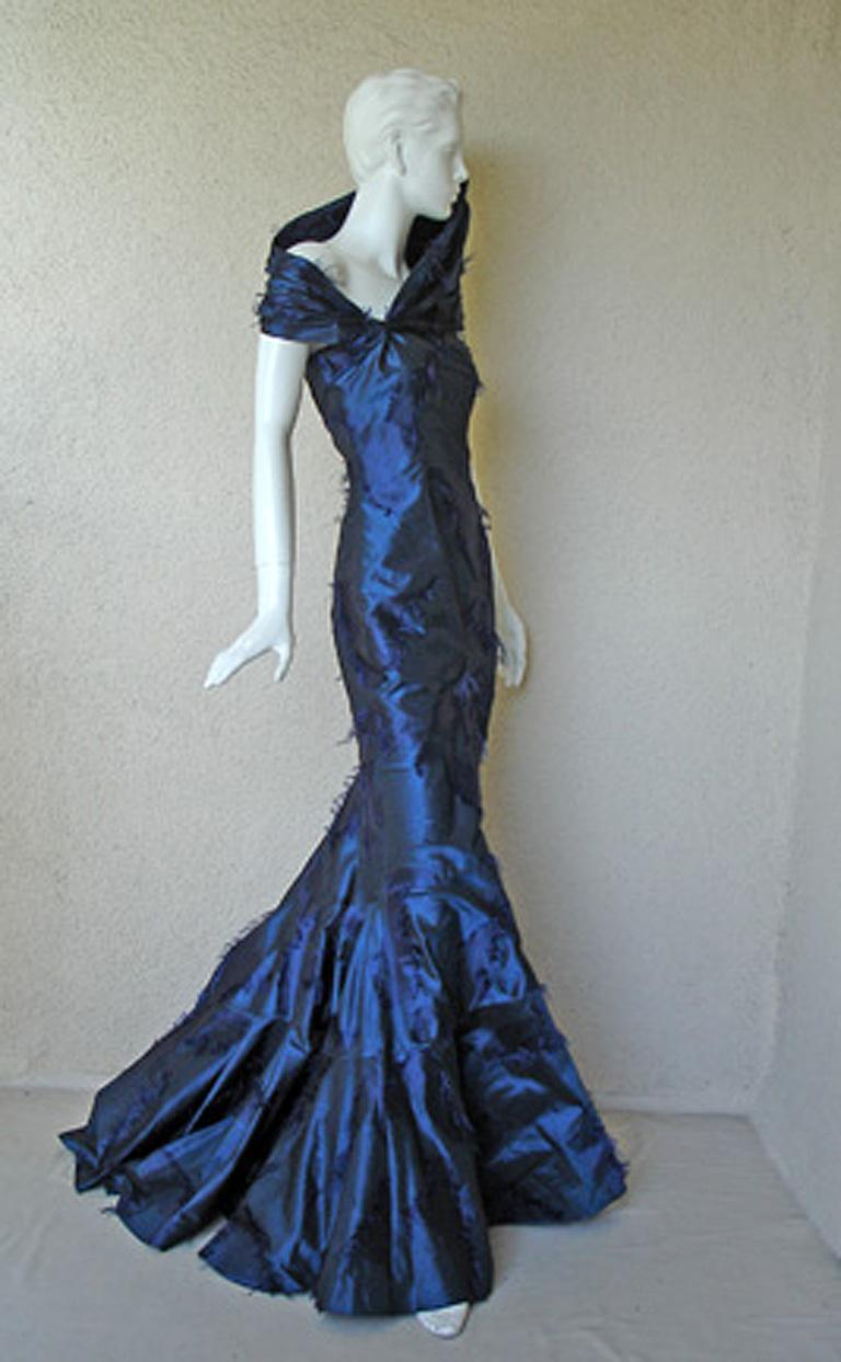 Christian Dior by Galliano Early Sapphire Blue Silk Demi Couture Dress Gown In Excellent Condition For Sale In Los Angeles, CA