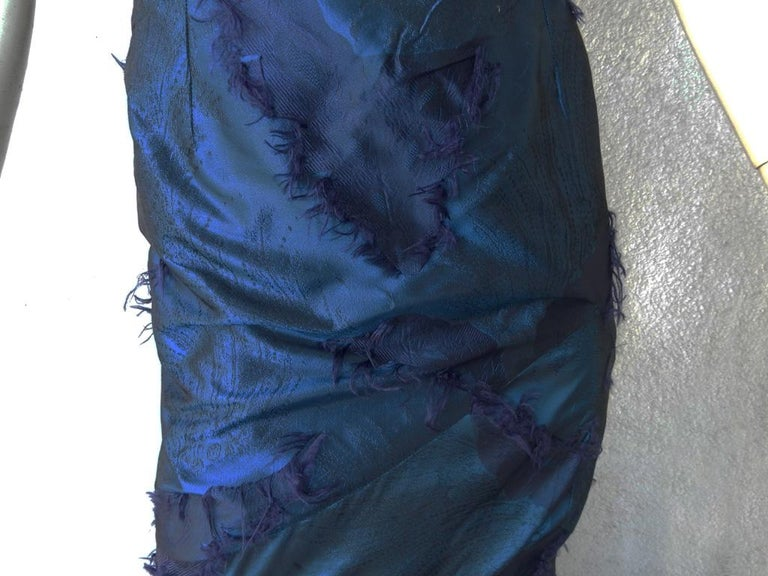 Women's Christian Dior by Galliano Early Sapphire Blue Silk Demi Couture Dress Gown For Sale