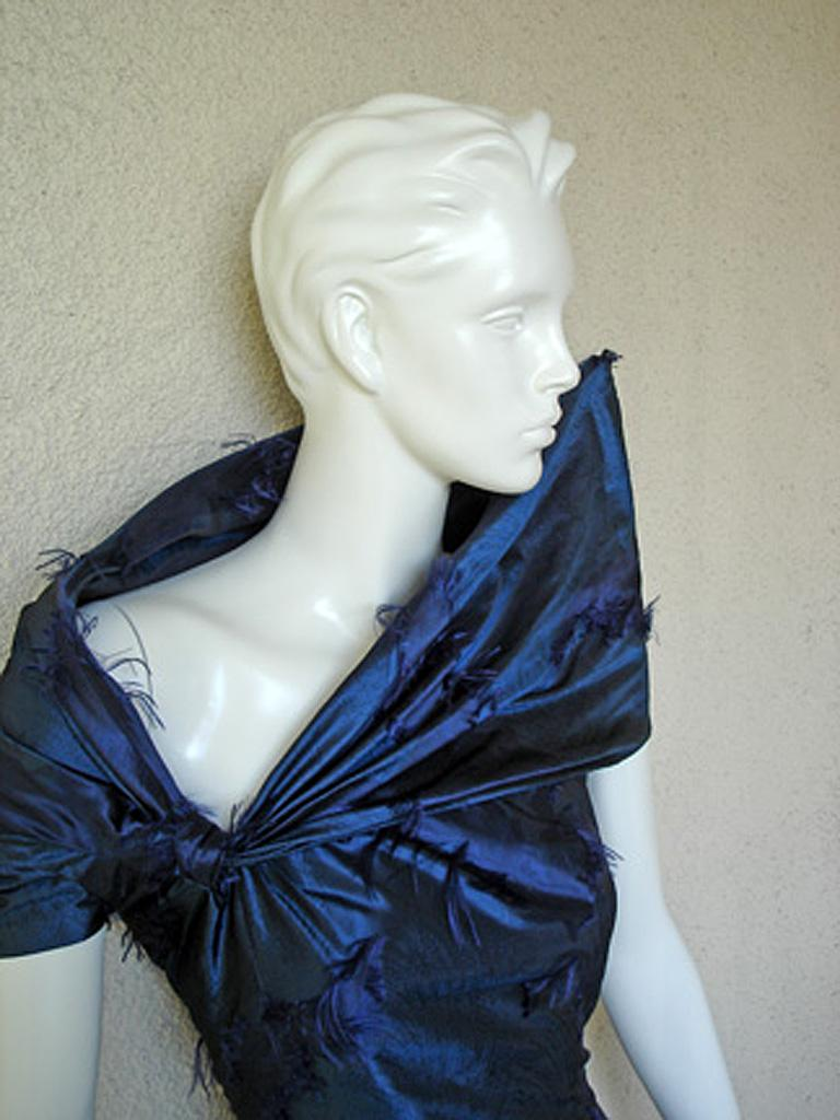 Christian Dior by Galliano Early Sapphire Blue Silk Demi Couture Dress Gown For Sale 2