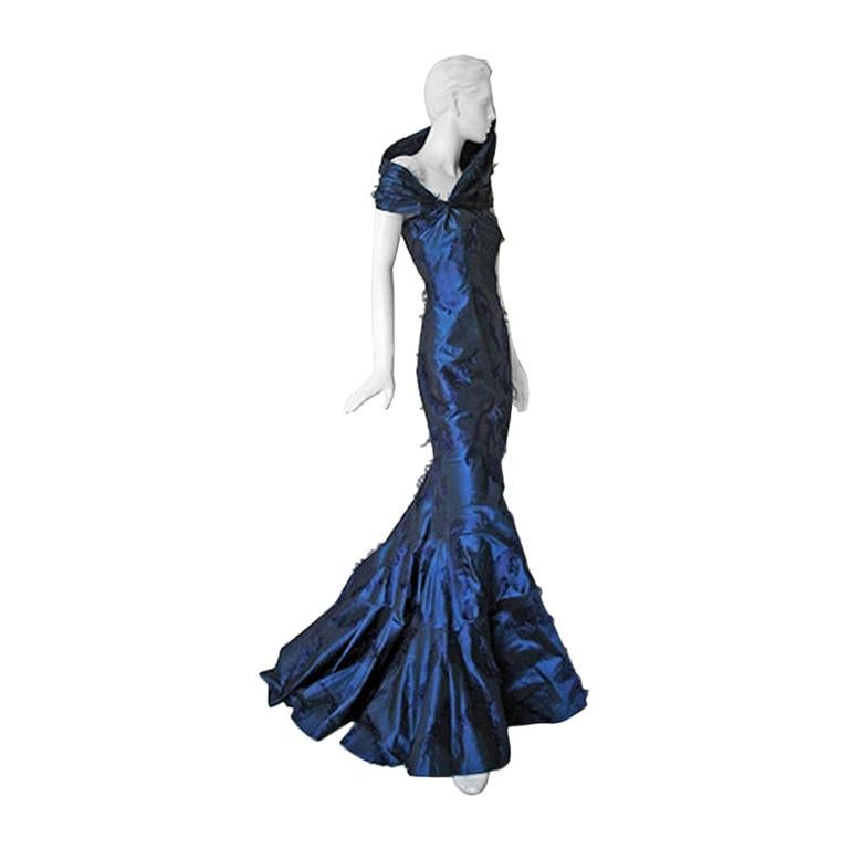 Christian Dior by Galliano Early Sapphire Blue Silk Demi Couture Dress Gown For Sale