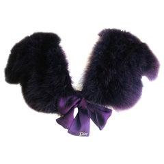"Christian Dior by Galliano Maison Lemarié Purple Feather Shrug w Crystal ""Dior"""