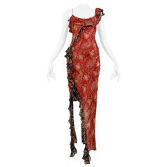 Christian Dior By Galliano Red Paisley Ruffle One Shoulder Dress 2002