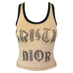 Christian Dior by Galliano S/S 2002 Runway Tattoo Sheer Mesh Nude Top