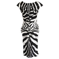 Christian Dior by Galliano SS 2008 Zebra Stripe Silk Cocktail Dress