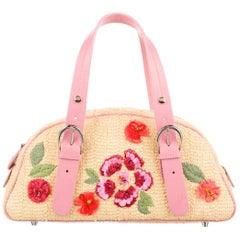 Christian Dior by GallianoLimited Edition Mini Straw Handbag with Raffia Flowers