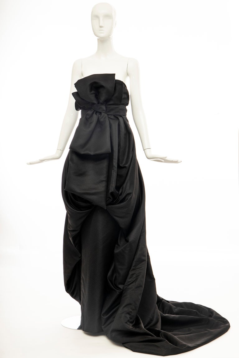 Christian Dior by Gianfranco Ferré Black Silk Strapless Gown, Circa: 1990's For Sale 6