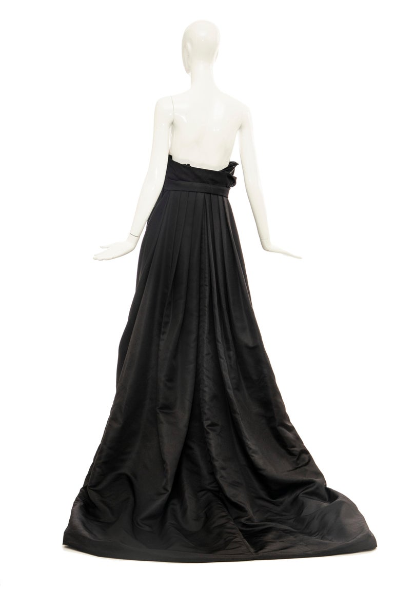 Christian Dior by Gianfranco Ferré Black Silk Strapless Gown, Circa: 1990's For Sale 8