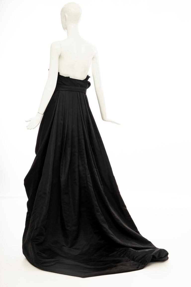 Christian Dior by Gianfranco Ferré Black Silk Strapless Gown, Circa: 1990's For Sale 9