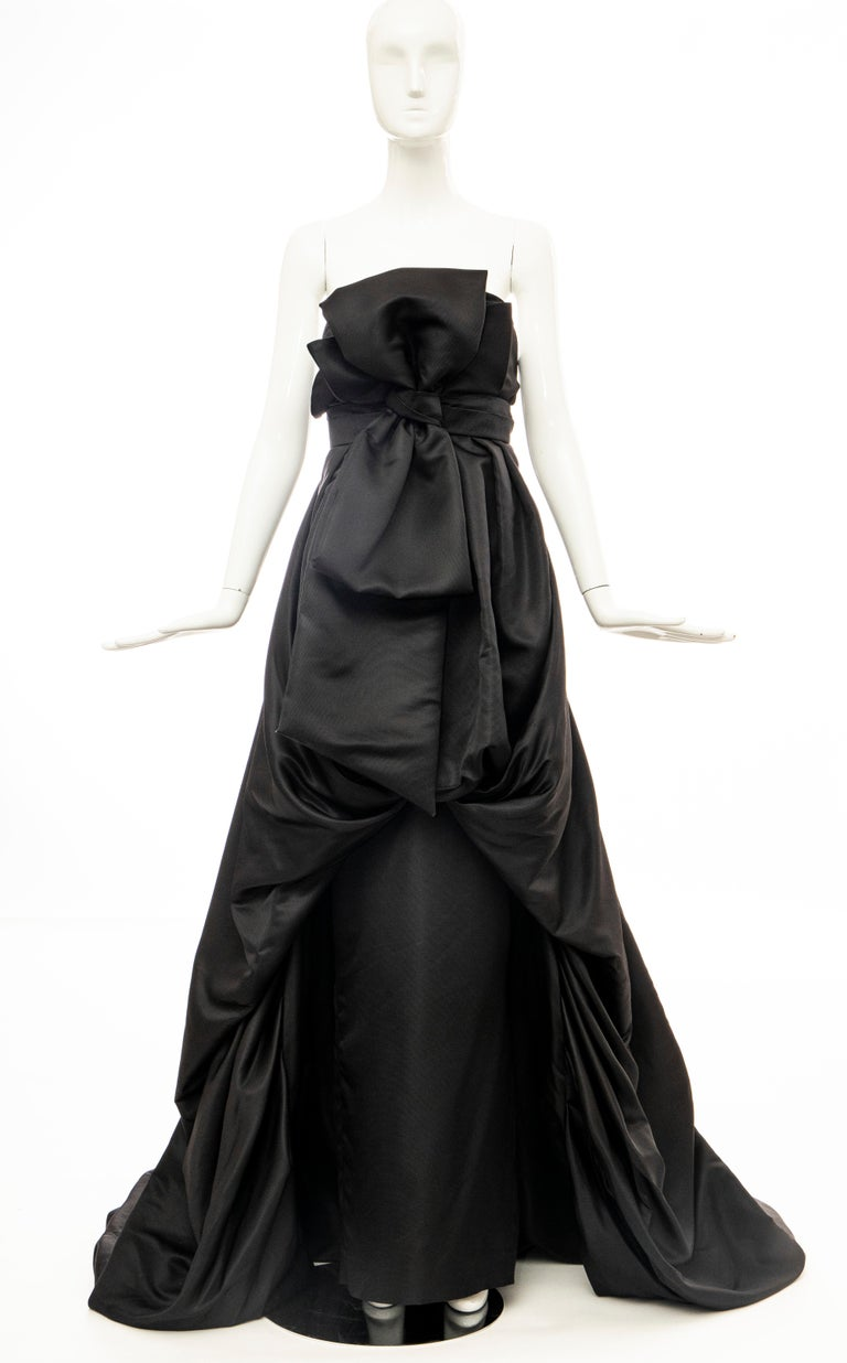 Christian Dior by Gianfranco Ferré Black Silk Strapless Gown, Circa: 1990's In Good Condition For Sale In Cincinnati, OH