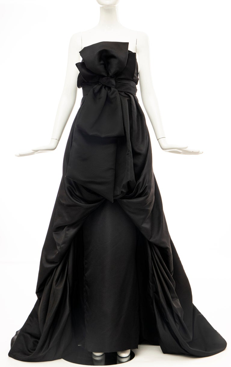 Women's Christian Dior by Gianfranco Ferré Black Silk Strapless Gown, Circa: 1990's For Sale