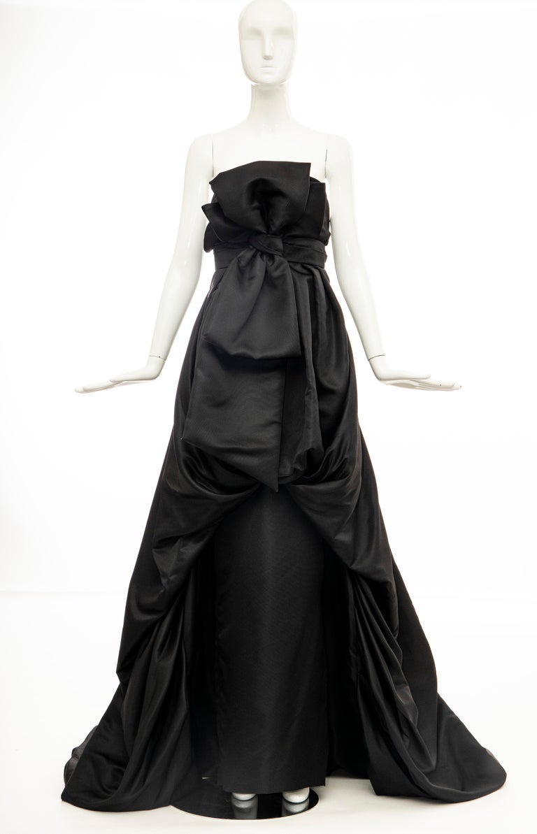 Christian Dior by Gianfranco Ferré Black Silk Strapless Gown, Circa: 1990's For Sale 1