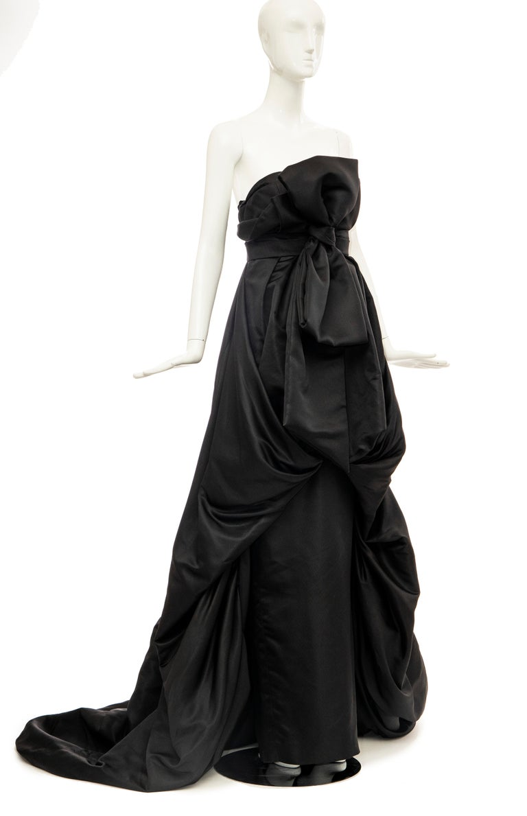 Christian Dior by Gianfranco Ferré Black Silk Strapless Gown, Circa: 1990's For Sale 2