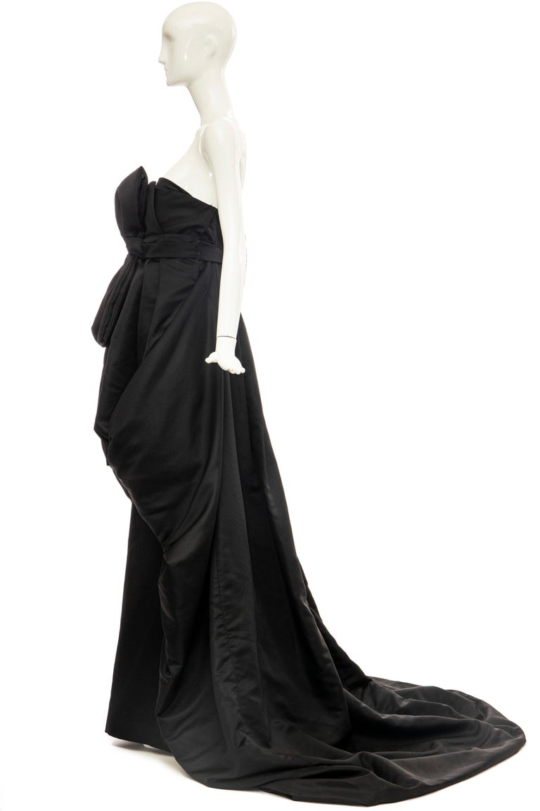 Christian Dior by Gianfranco Ferré Black Silk Strapless Gown, Circa: 1990's For Sale 4