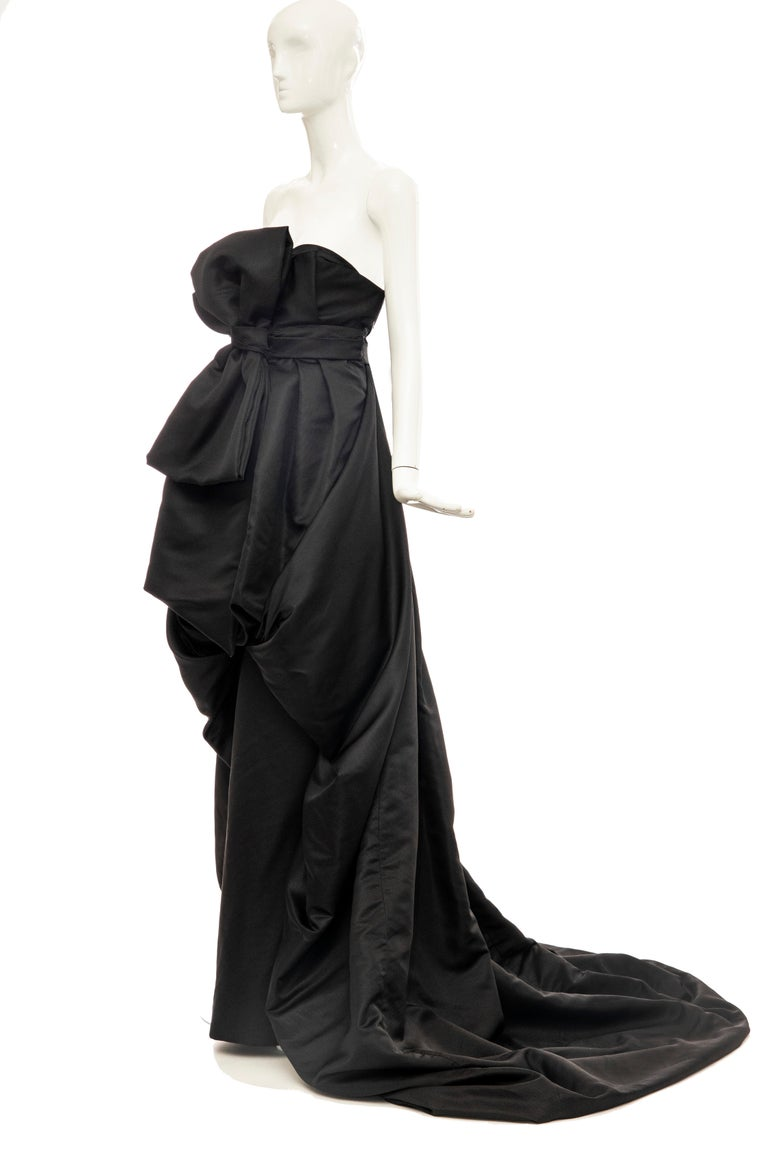 Christian Dior by Gianfranco Ferré Black Silk Strapless Gown, Circa: 1990's For Sale 5