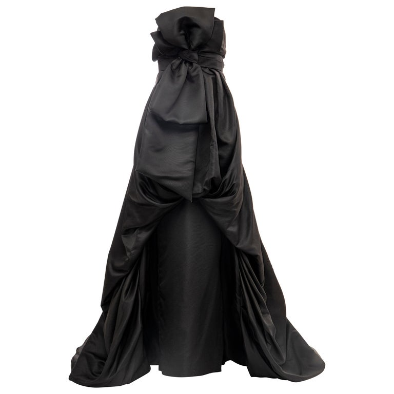 Christian Dior by Gianfranco Ferré Black Silk Strapless Gown, Circa: 1990's For Sale