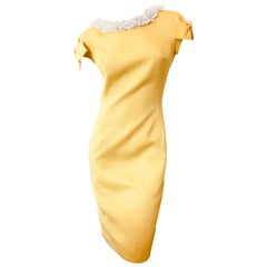Christian Dior by John Galliano '99 Yellow Day Dress with Bows and Beaded Collar