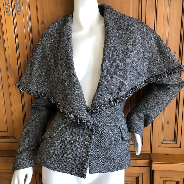 Women's Christian Dior by John Galliano A' 98 Gray Jacket w Huge Collar & Padded Hips For Sale