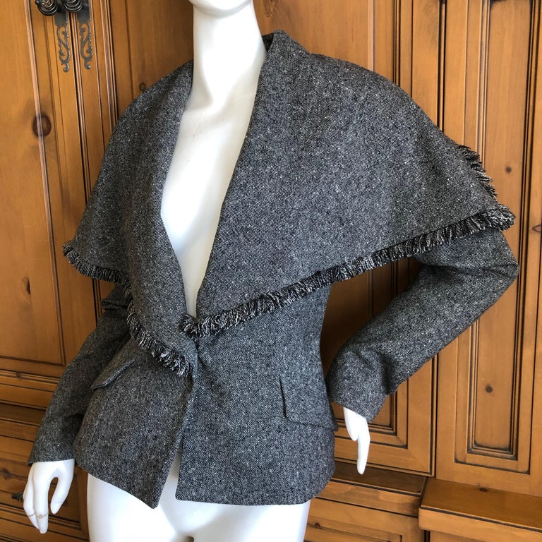 Christian Dior by John Galliano A' 98 Gray Jacket w Huge Collar & Padded Hips For Sale 1