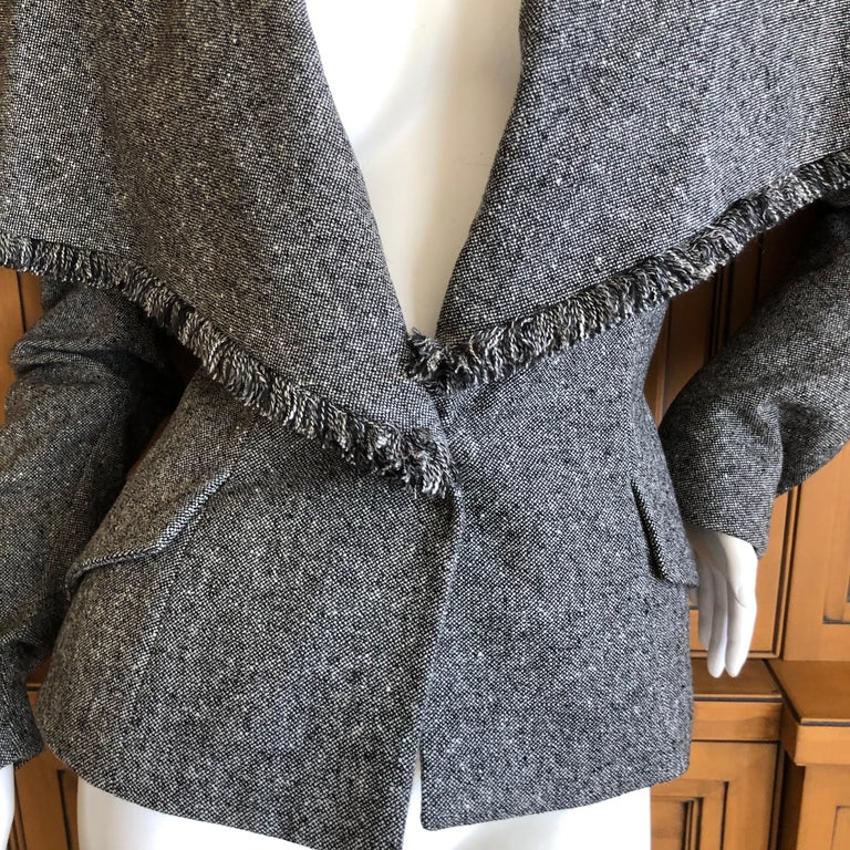 Christian Dior by John Galliano A' 98 Gray Jacket w Huge Collar & Padded Hips For Sale 2