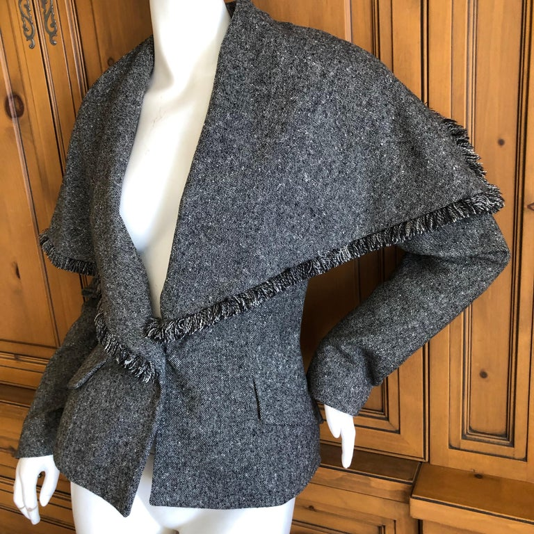 Christian Dior by John Galliano A' 98 Gray Jacket w Huge Collar & Padded Hips For Sale 4