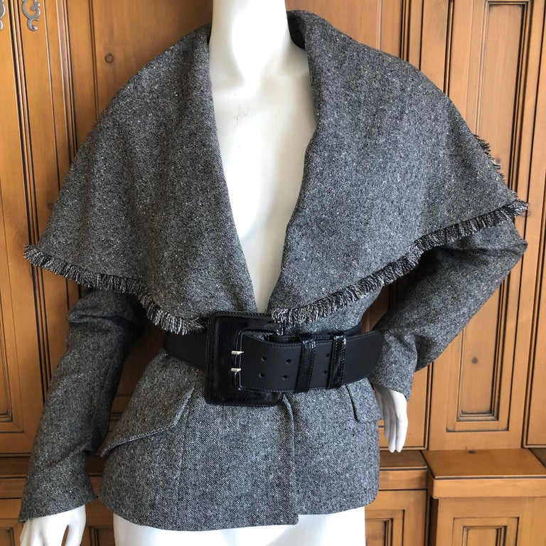 Christian Dior by John Galliano A' 98 Gray Jacket w Huge Collar & Padded Hips For Sale 5