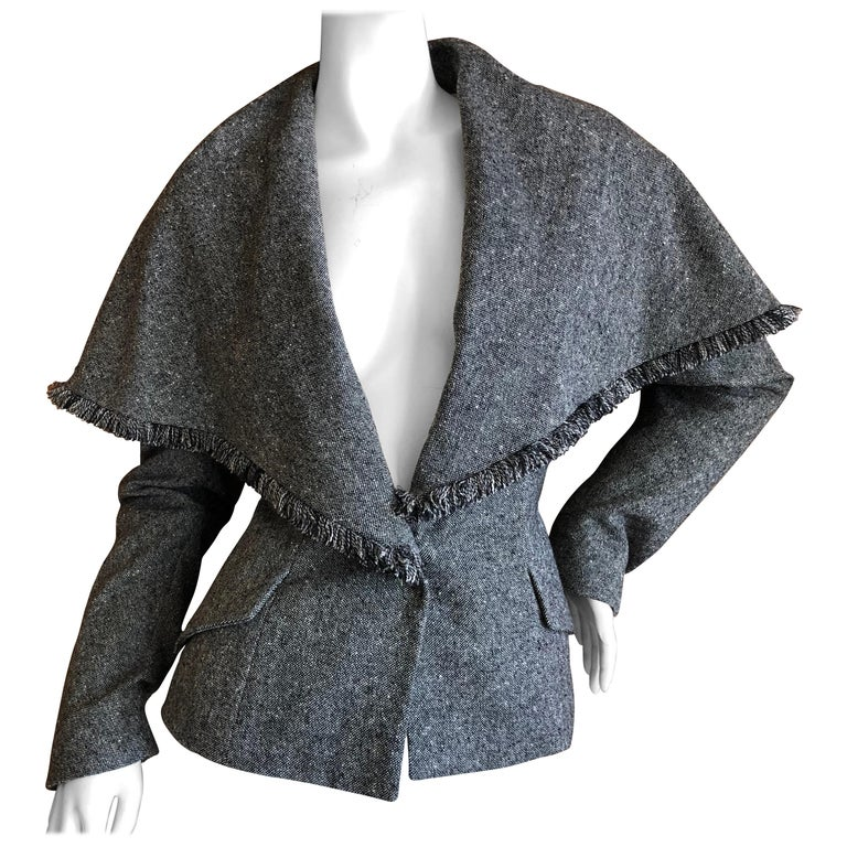 Christian Dior by John Galliano A' 98 Gray Jacket w Huge Collar & Padded Hips For Sale