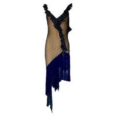 Christian Dior by John Galliano Asymmetric Diorissimo Logo Print Dress 2000
