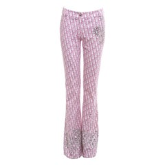 Christian Dior by John Galliano baby pink monogram embellished pants, ss 2004