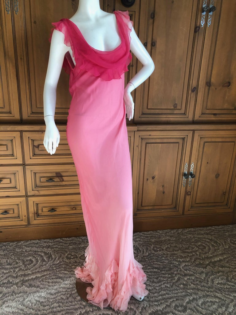 Christian Dior by John Galliano Bias Cut Ombre Silk Evening Dress w Ruffled Hem In Excellent Condition For Sale In San Francisco, CA