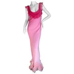 Christian Dior by John Galliano Bias Cut Ombre Silk Evening Dress w Ruffled Hem