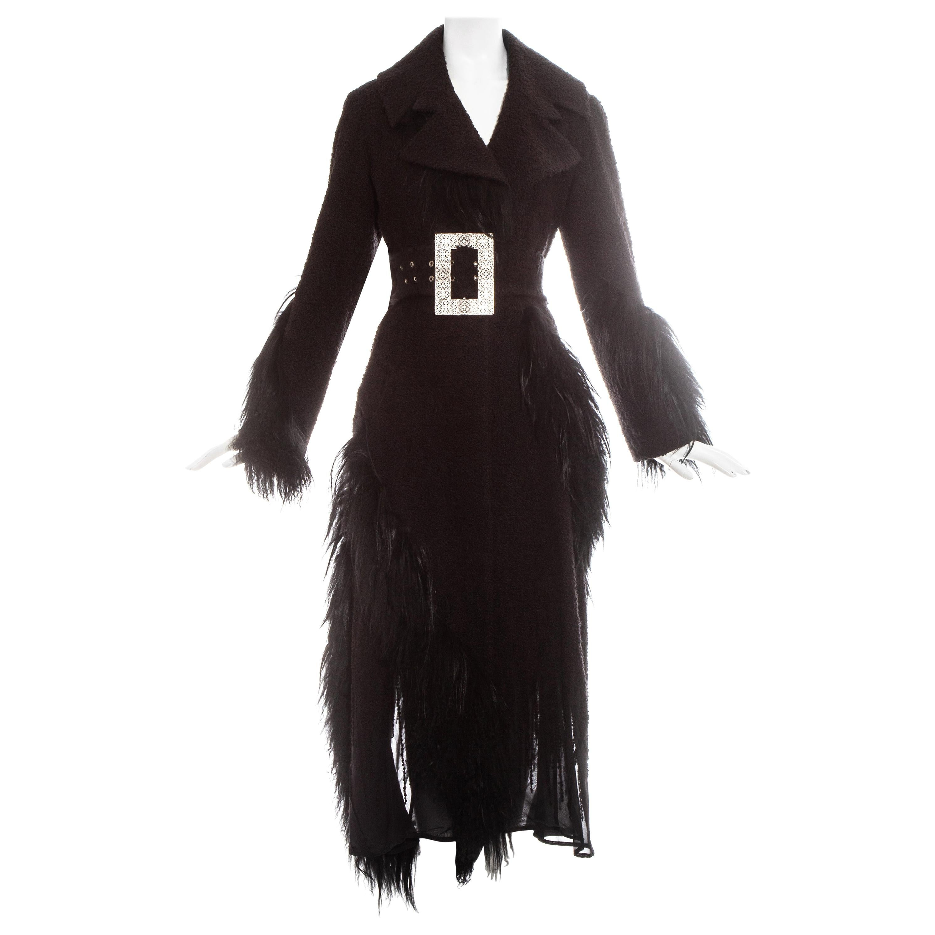 Christian Dior by John Galliano black boucle coat with yak and lamb, fw 2006