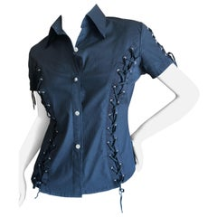 Christian Dior by John Galliano Black Button Up Top with Lace Up Details