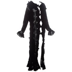 Christian Dior by John Galliano black crochet velvet oversized cardigan, fw 2003