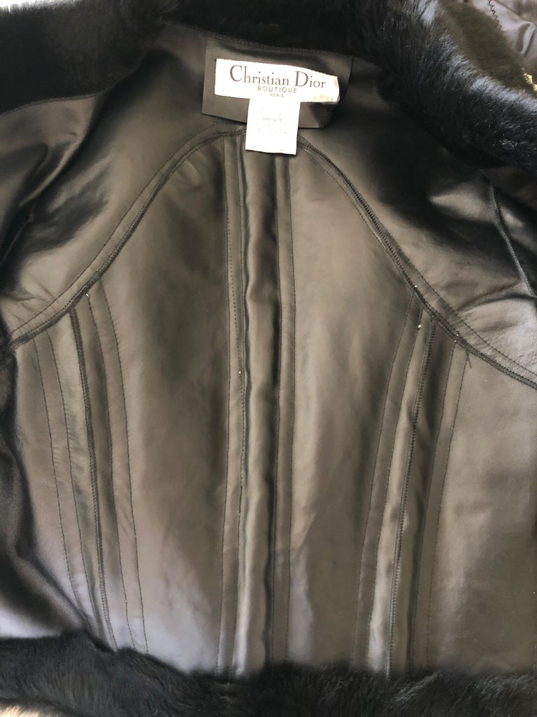 Christian Dior by John Galliano Black Fur Moto Jacket White Leather Lace Up Trim For Sale 7