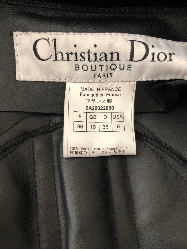 Christian Dior by John Galliano Black Fur Moto Jacket White Leather Lace Up Trim For Sale 8